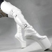 Ultra High 20 См Нет Пятки Сапоги Длинные Бедро Высокие Сапоги Сексуальные фетиш Обувь Дамы Размер 12 Сапоги Толщиной Платформа 80 См Длинные Сапоги(China (Mainland))