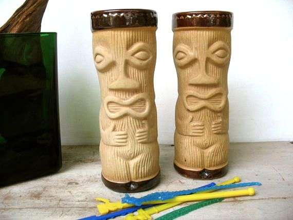 Paul Marshall Tiki Glasses Set Of 2 Peanut Man Tiki Bar Decor