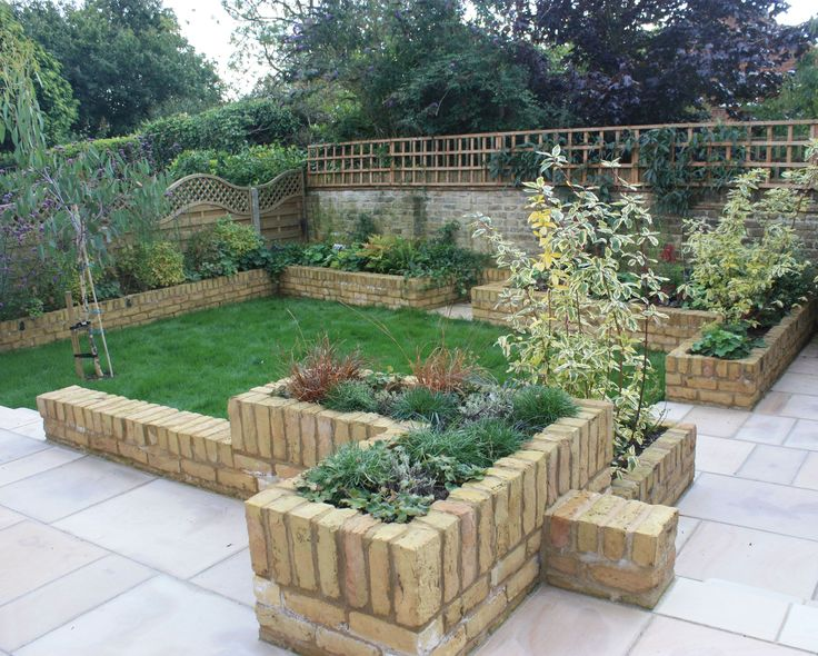 A raised brick planter garden designed for clients needing to garden without bending down.