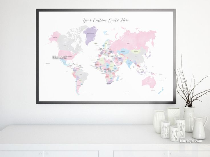 Custom quote printable world map with country names and us states custom quote printable world map with country names and us states names newlyweds gift custom map premade color map map140 061 newlywed gifts and gumiabroncs Images