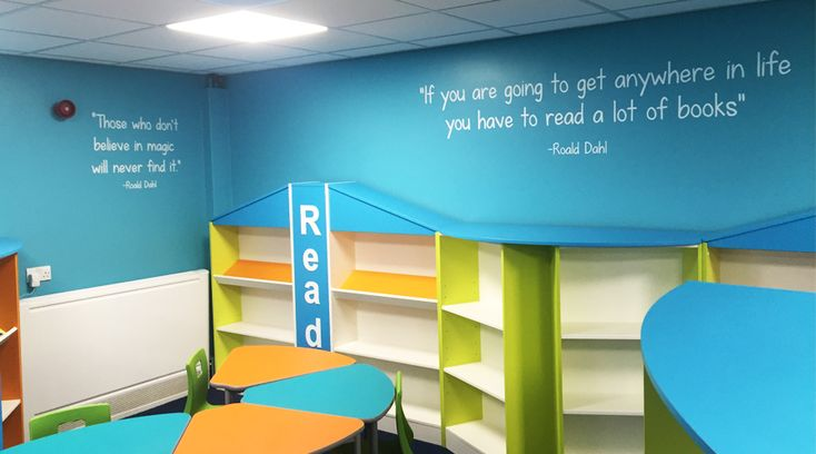School library wall quotes. These Roald Dahl wall quotes about reading and books transform a blank wall into an inspirational space in any library. By space3.co.uk