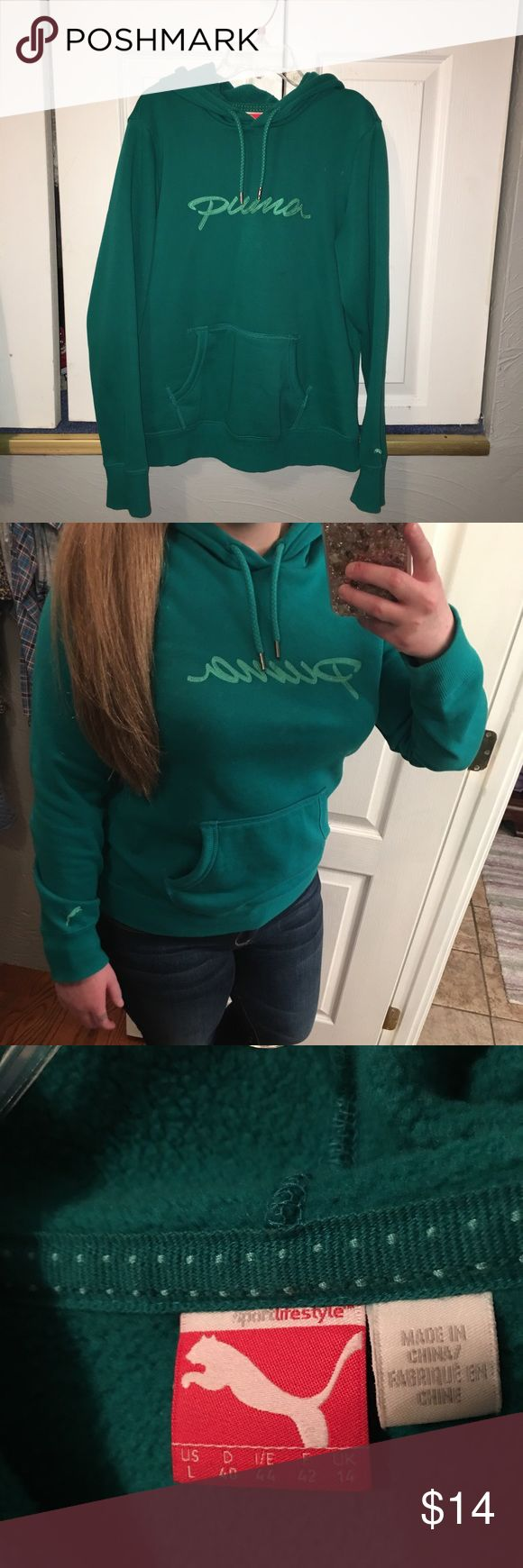 Puma Sweatshirt Rarely worn teal Puma sweatshirt! Cleaning out my closet and don't need it. In excellent condition and very cozy and sleek feeling! Please make reasonable offers and ask questions:) Puma Tops Sweatshirts & Hoodies