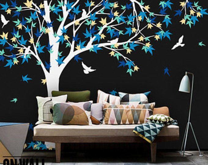 Gran etiqueta de vinilo de árbol de arce vivero vinilo pared etiqueta, etiqueta de la pared de árbol, vinilo pegatinas de pájaro, mural de vinilo - K024B