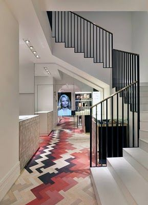 patterned floors--i believe this is a Stella McCartney store/showroom
