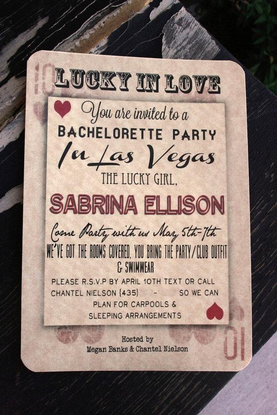 Vegas Bachelorette Invites by FishyFaceGoods on Etsy, $15.00
