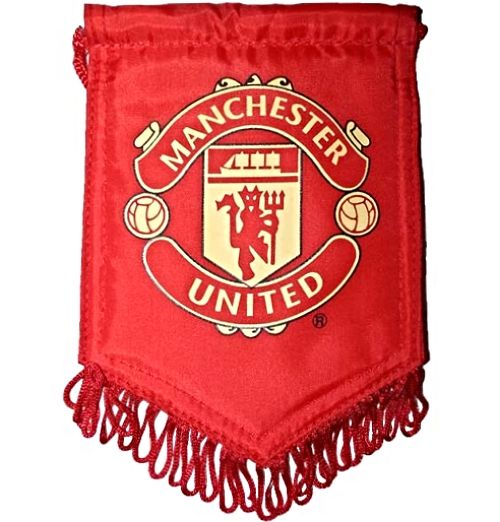 Manchester United Small Red Car Pennant with Crest