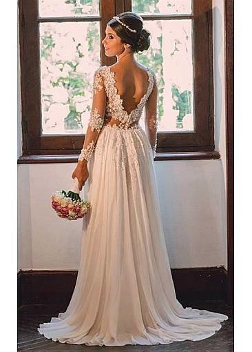 Elegant Tulle & Chiffon V-neck Neckline Sheath Wedding Dresses With Beaded…