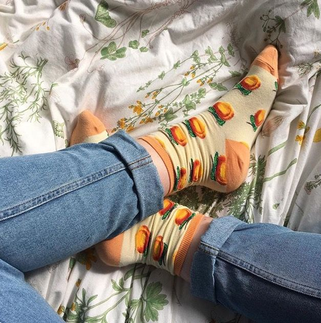 This would be a cute picture to take I you got some crazy cute socks from Forever 21 and than found a really cute white sheet
