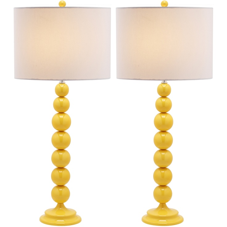 Jenna Stacked Ball 1-light Yellow Table Lamps (Set of 2) | Overstock.com