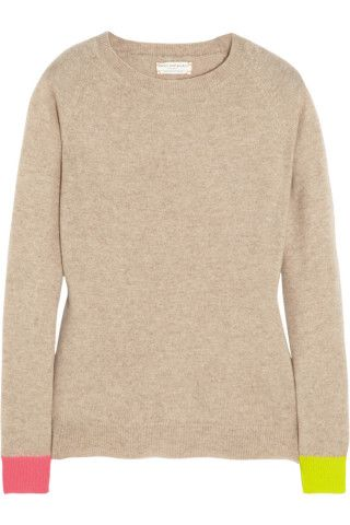 Chinti and Parker | Contrast-cuff cashmere sweater | NET-A-PORTER.COM