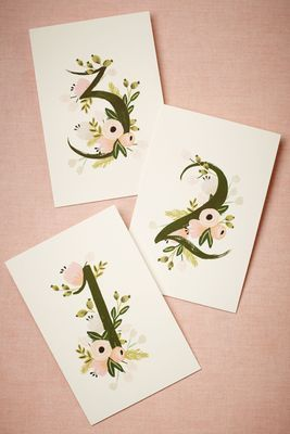 Floral table numbers #weddingwednesday