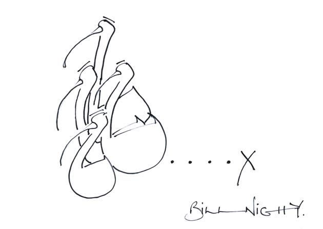 Doodle by Bill Nighy. British film and TV actor who played Rufus Scrimgeour in Harry Potter and the Deathly Hallows. Other credits include Pirates of the Caribbean, Love Actually, Hot Fuzz and The Constant Gardener.