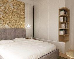 mieszkanie na ochocie 50m2 kolor biel,szarość,dąb - Sypialnia, styl nowoczesny - zdjęcie od Grafika i Projekt architektura wnętrz