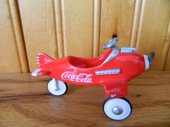 Antique Airplane Tricycle : Vintage coca cola red plane pedal car by allthatsvintage