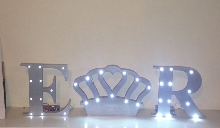 Beautiful painted 3 piece set. Letters and crown with fairy lights. by AceSentimentalGifts on Etsy https://www.etsy.com/listing/266292138/beautiful-painted-3-piece-set-letters