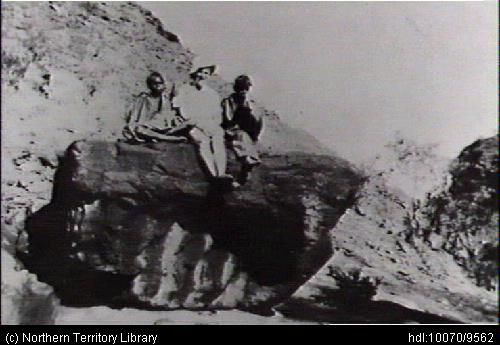 Title: On the rock at Areyonga Photo No: PH0078/0044 Date taken: 01 January 1951.