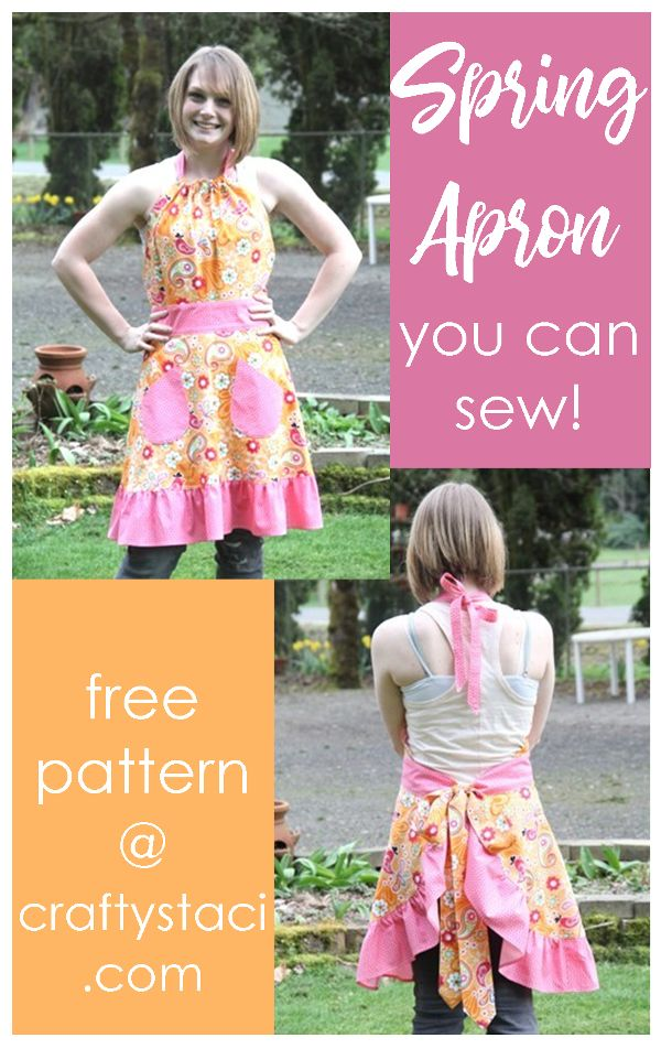 Spring Apron Free Pattern from craftystaci.com #easysewing #apronpattern #giftstosew