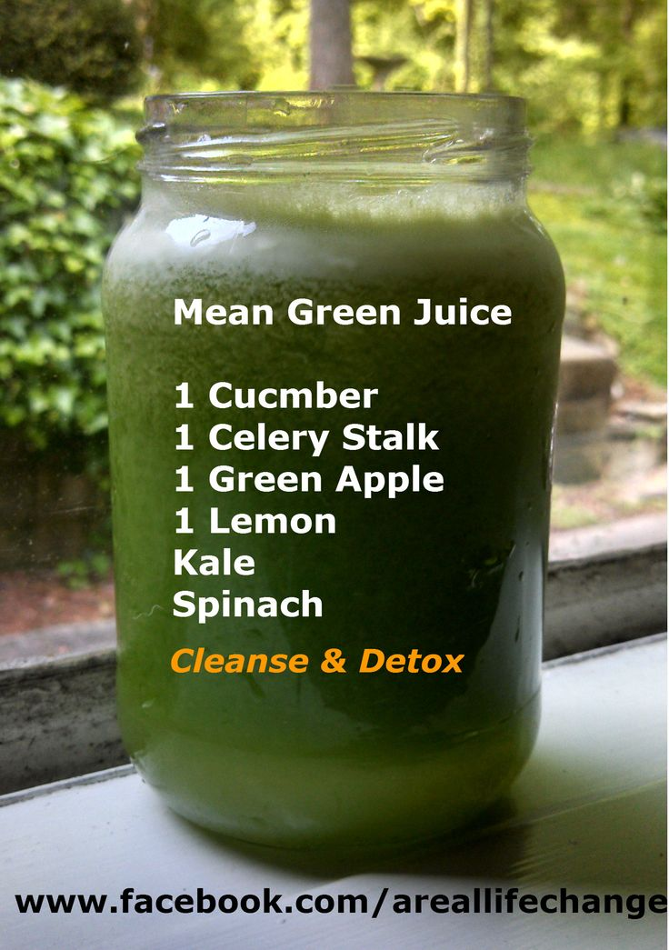 Mean Green Juice Recipe-minus the spinach, and add diet green tea for sweeting. Delicious!