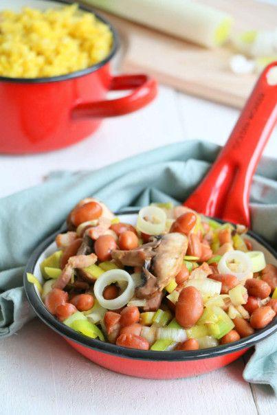 Makkelijke maaltijd van bruine bonen schotel met rijst en kip - Lekker eten met Linda