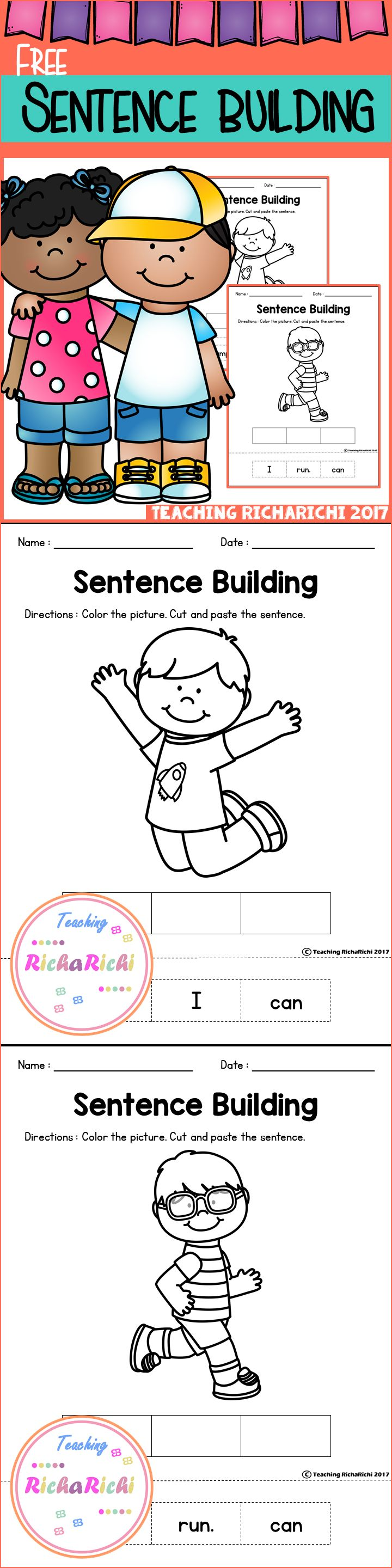 Freebies, Kindergarten, Pre-K, First grade, Worksheets, Printables , Lesson Plans, Sentence building, Fluency, Grammar, English, Activities, Kindergarten Worksheets, Education