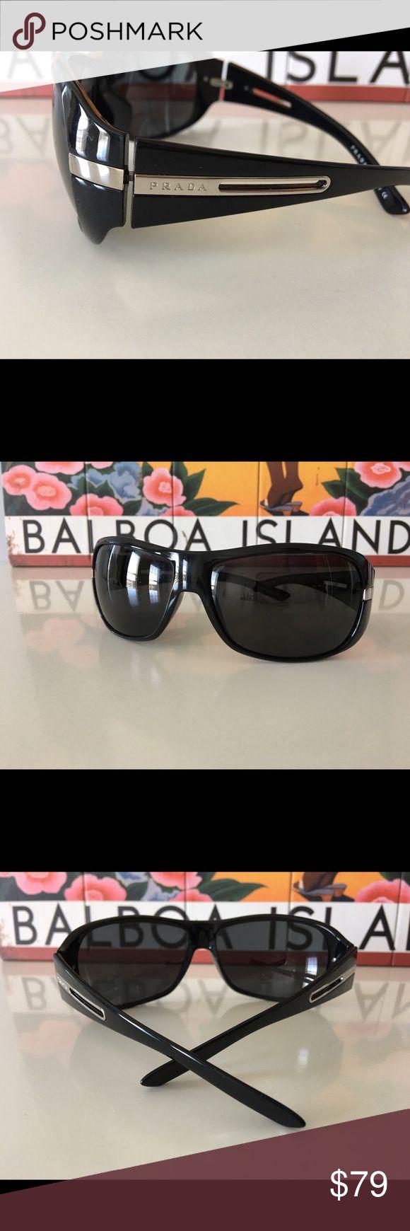 Black Prada Sunglasses All black, rounded rectangle lense Diva sunnies with silver Prada post. Prada Accessories Sunglasses