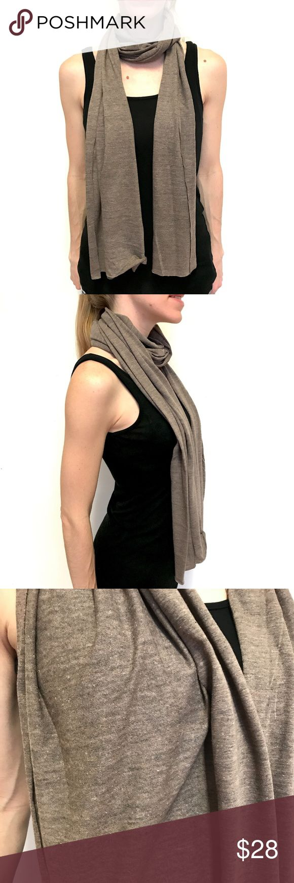 """New American Apparel Brown Skinny Scarf NEW American Apparel Skinny Scarf Brown Long Cotton Hipster Neck Head Fashion  American Apparel's classic light weight skinny scarf. Heathered brown color - I have more colors in my Closet! :)  Approx. Dimensions: 16""""x90""""  Can be used as an scarf, neck wrap, head scarf, or dust mask!  Light weight! Fabric content not listed. I think it's mostly cotton.  Great for Fall, Burning Man, and festivals.  Please check out my Trixy Xchange Closet for more…"""