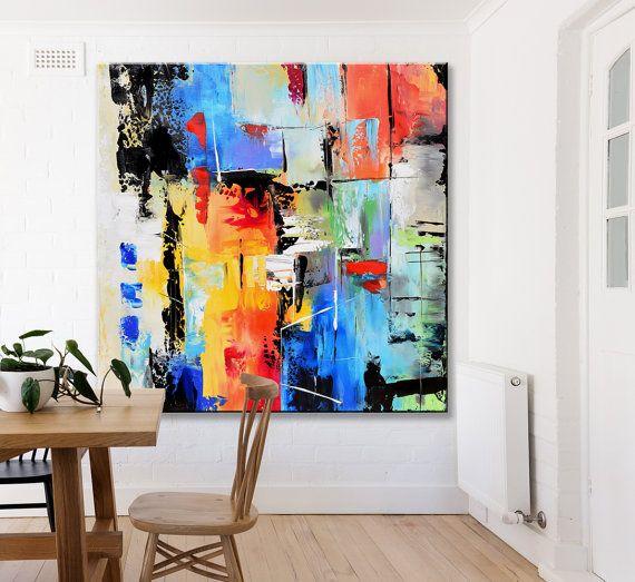Pintura abstracta arte contemporáneo pared Extra grande
