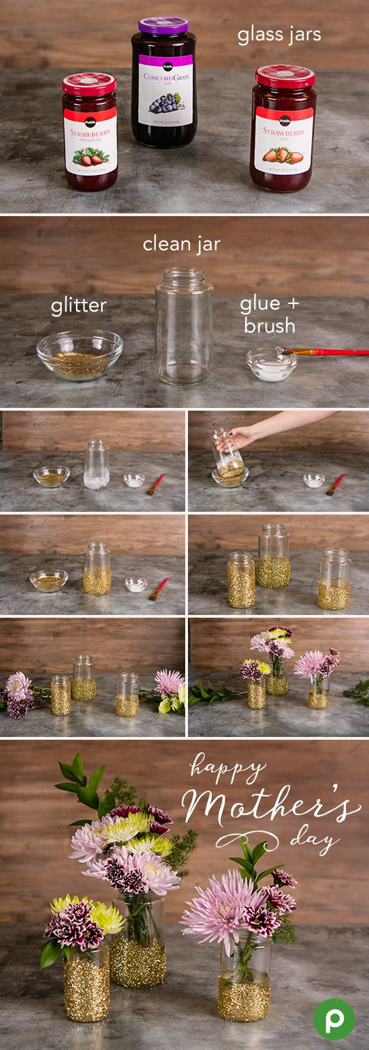 It's easy to create a special Mother's Day arrangement in these DIY glitter jars. Just find the perfect flower bunches in the Publix floral section to create a personalized bouquet, and upcycle clean jelly jars with a little glue, glitter, and a paintbrush.