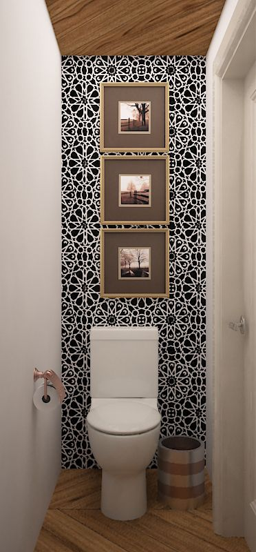 sanitario, piso y techo tipo duela porcelanica, tapiz negro y blanco