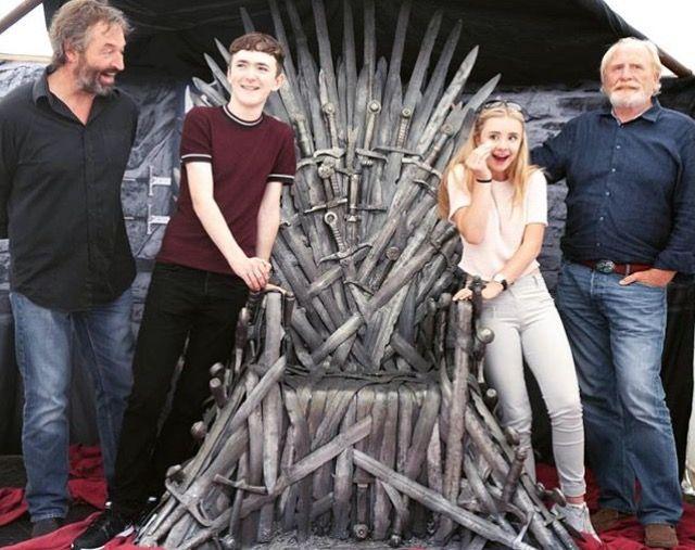 Game of Thrones: Ian Beattie, Brenock O' Connor, Kerry Ingram and James Cosmo (photo via Kerry's Instagram)
