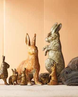Vintage Iron Bunny Doorstops, Lawn Ornaments, and Banks