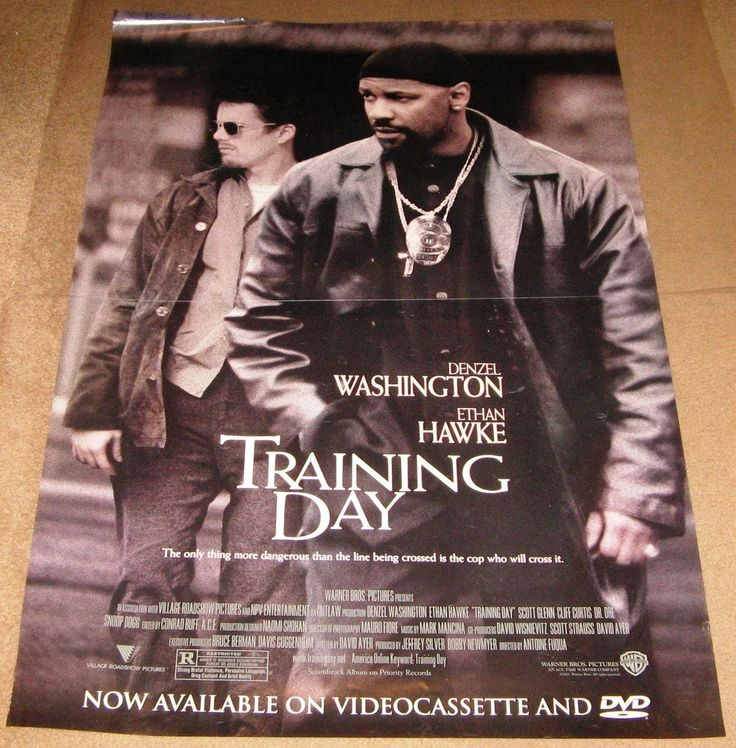 Training Day Movie Poster 27x40 Used Denzel Washington, Dr Dre, Fran Kranz, Cliff Curtis, Eva Mendes, Raymond Cruz, Raymond J Barry, Namrata Singh Gujral, Nancy Young, Michael Ray Clark, Denzel Whitaker