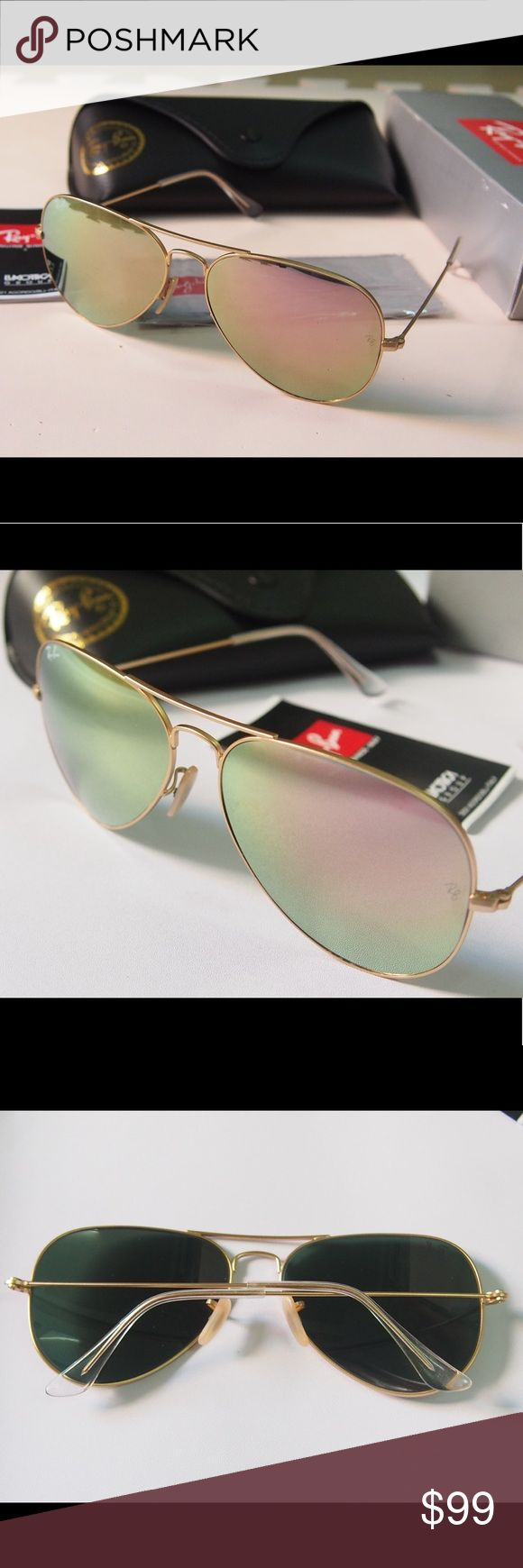 Ray ban aviators 3025 rose gold sunglasses RB 3025 aviators rose gold mirror sunglasses.  Brand new no scratches  Come with original box and case 100% real return acceptable  Fast shipping Ray-Ban Accessories Sunglasses