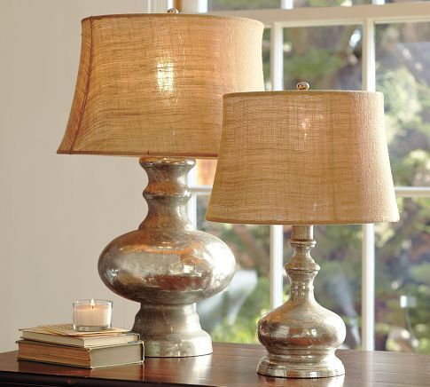 Pottery Barn mercury glass lamps.