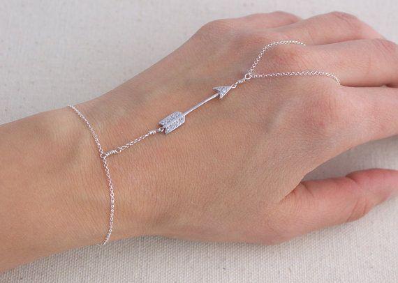 Sterling Silver bracelet- finger to wrist bracelet- Bracelet ring- Hand Harness- Ring bracelet- Finger bracelet- Hand Chain- Slave bracelet- Arrow