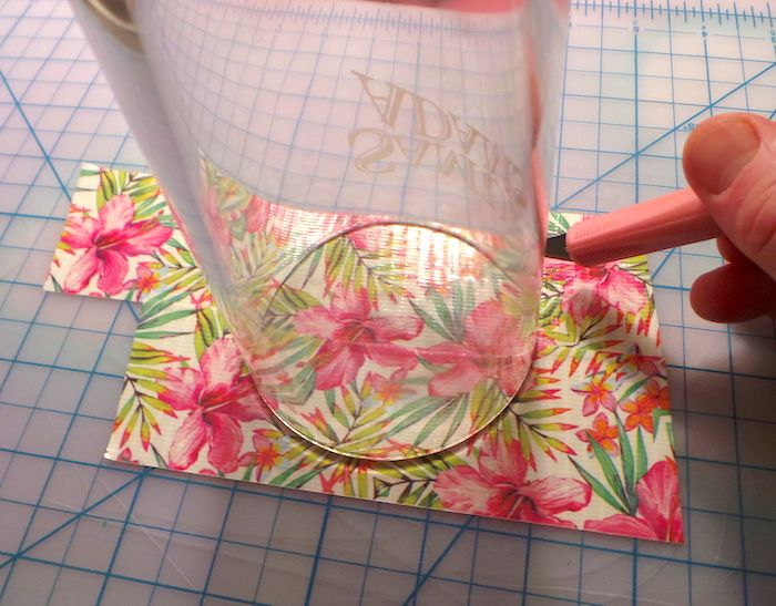 Duck Tape tropical coasters step 3