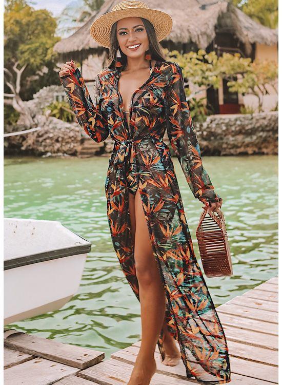 f76ea3ef8883 Saida de praia - Kimono longo Strelitzia - 8193 - BIQUINIS POLIANA FINZETTO