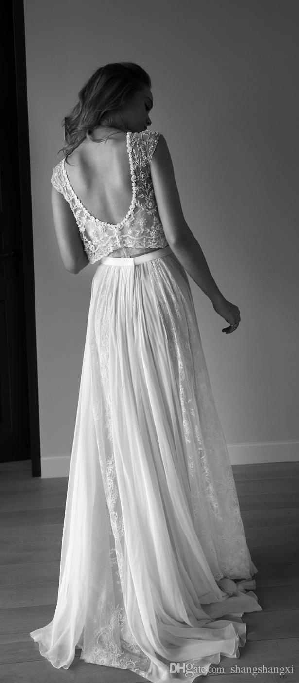 2016 Lihi Hod Wedding Dresses Two Pieces Sweetheart Sleeveless Low Back Pearls Beading Sequins Lace Chiffon BeachBoho Bohemian Wedding Gowns