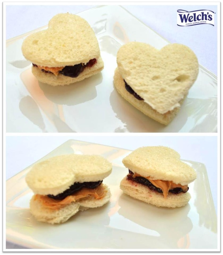 Peanut Butter & Jelly Hearts! Cut bread into hearts and fill with ...