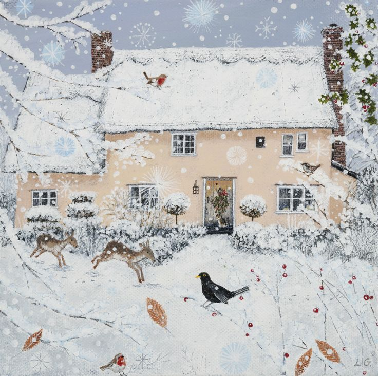 Homes & Gardens Portfolio | Lucy Grossmith | Heart To Art : I love this - it reminds me of my Parents house in the snow!