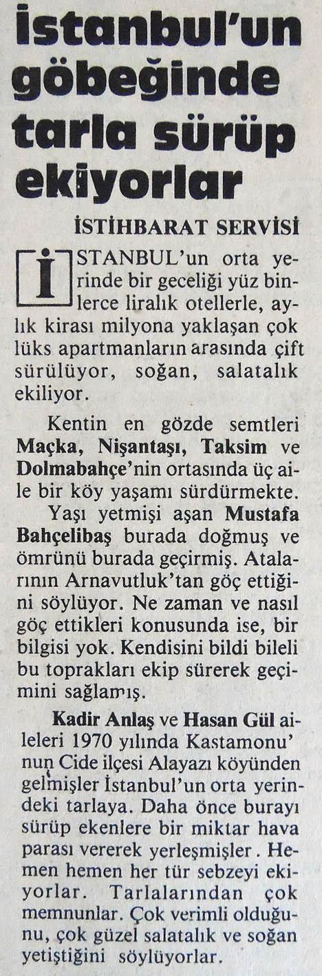 ''İstanbul'un göbeğinde tarla sürüp ekiyorlar'' (Milliyet Gazetesi 25 Nisan 1985)#istanbul #eskihaberler  #istanlook