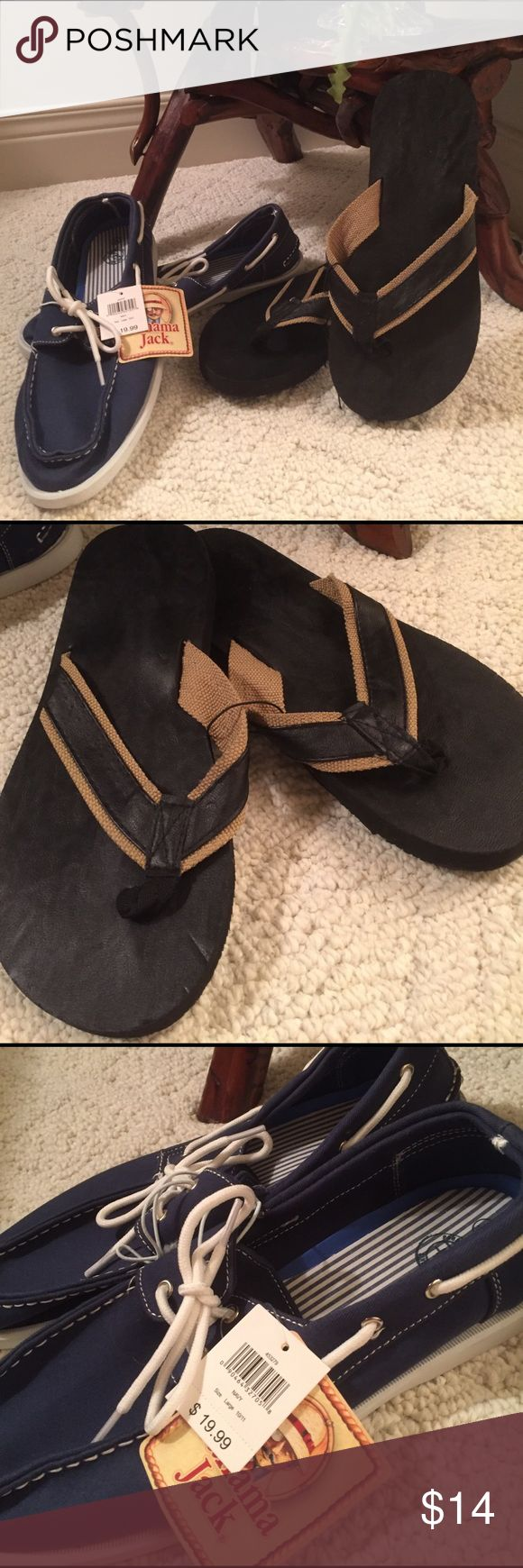 NWT 2pair set MENS SANDALS AND LOAFERS Panama Jack Navy blue loafers with white ties.these have a retail price of 19.99 - the sandals are black with burlap looking trim on straps. PanamaJack and West Loop Shoes Loafers & Slip-Ons