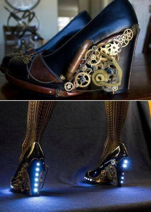 Steampunk shoes | via RebelsMarket Steampunk Victorian - Inspiration for my steampunk witches ball costume :)