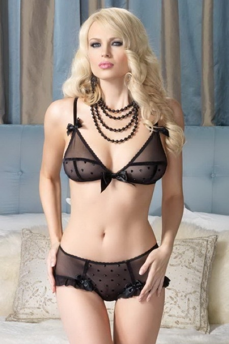Leg Avenue Lingerie - 2 PC. Sheer Black Bra with Mini Flocked Hearts