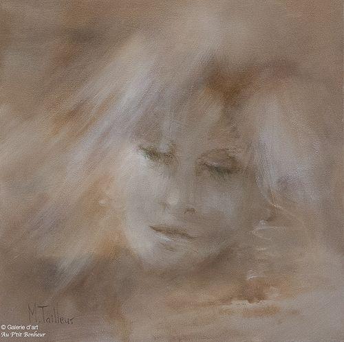 Madeleine Tailleur, 'Réflexion féminine', 16'' x 16''   Galerie d'art - Au P'tit Bonheur - Art Gallery