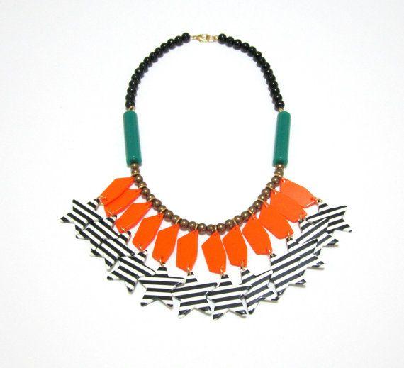 Plastic Lucite Orange Green Stripped Star Beads Handmade Statement Necklace