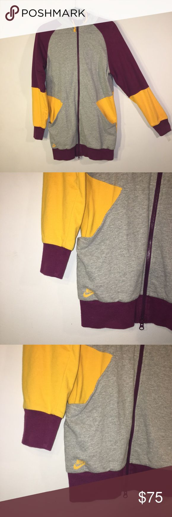 "Vintage Nike Hoodie Nike Sportswear Zip Up Hoodie. Size medium. Long Tunic style. 80s or 90s vintage Retro. Excellent used condition.  Hips measure 18"" across and length is 31"". Purple gray yellow colorblock. Perfect for fall and layering. Cotton/Polyester blend Nike Tops Sweatshirts & Hoodies"