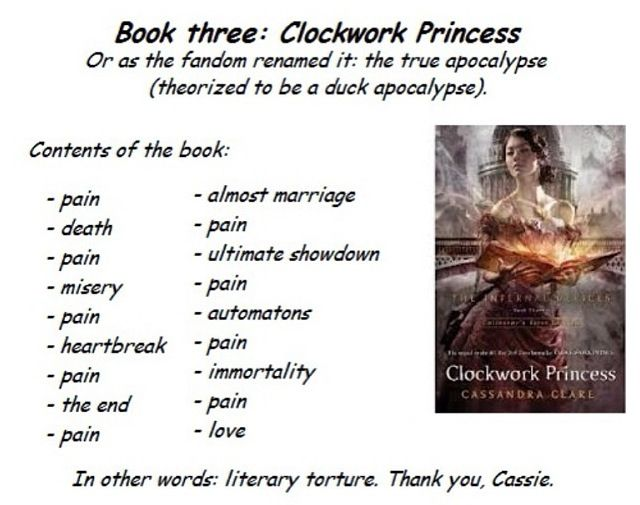 Clockwork Princess haha. I actually didn't think it was that painful though. At least most of the main characters didn't die(except in the epilogue)