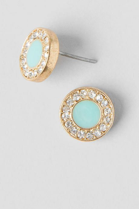 Vivienne Stud Earrings. The circular gold studs are paved with crystal rhinestones & a painted mint center. Compliment your maxi dress and wedges with these cute studs!