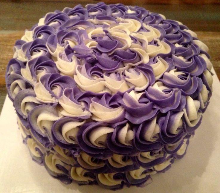 Purple & white rosette cake